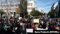 Nastavak protesta korisnica naknada za majke sa troje i više djece, Podgorica, 2. mart