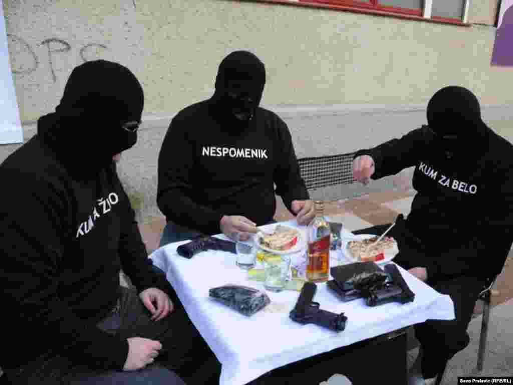 Montenegro - MANS performance about corruption, Podgorica, 09Dec2011