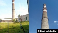 Yauhen Lapanovich died after jumping from a 70-meter-high smokestack in the town of Sosny, near Minsk, when the cord broke.