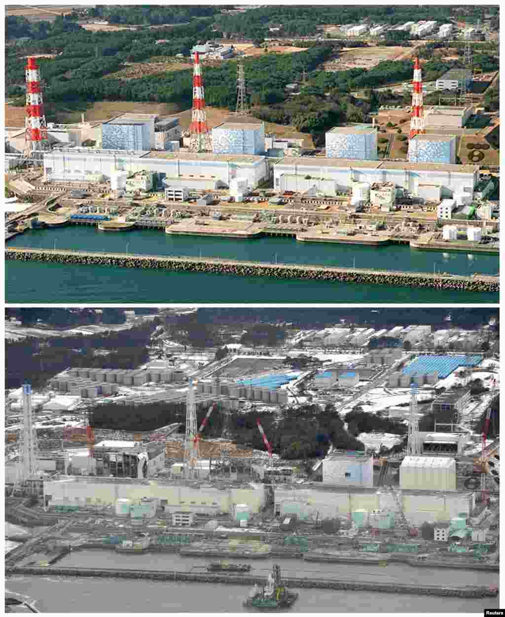 On top, the Fukushima Daiichi nuclear power plant in Fukushima Prefecture in December 2000, and below on February 26, 2012