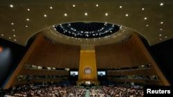Барак Обама выступает на саммите, посвященном изменению климата, в штаб-квартире ООН в Нью-Йорке 23 сентября 2014 годв