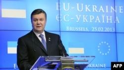 Украина президенті Виктор Янукович. Брюссель, 25 ақпан 2013 жыл.