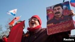 Участница пророссийского митинга в Севастополе. Март 2014 года