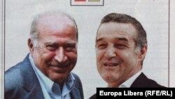 """Dan Voiculescu și George Becali, detaliu dintr-un afiș electoral cu sloganul: """"Noi sîntem dreptatea pînă la capăt"""""""