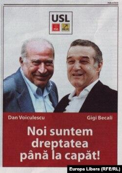 Poster electoral cu Dan Voiculescu și George Becali, decembrie 2012.