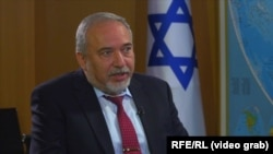 Israeli Defense Minister Avigdor Lieberman, in a video interview with Radio Farda in Tel-Aviv on September 4, 2018.