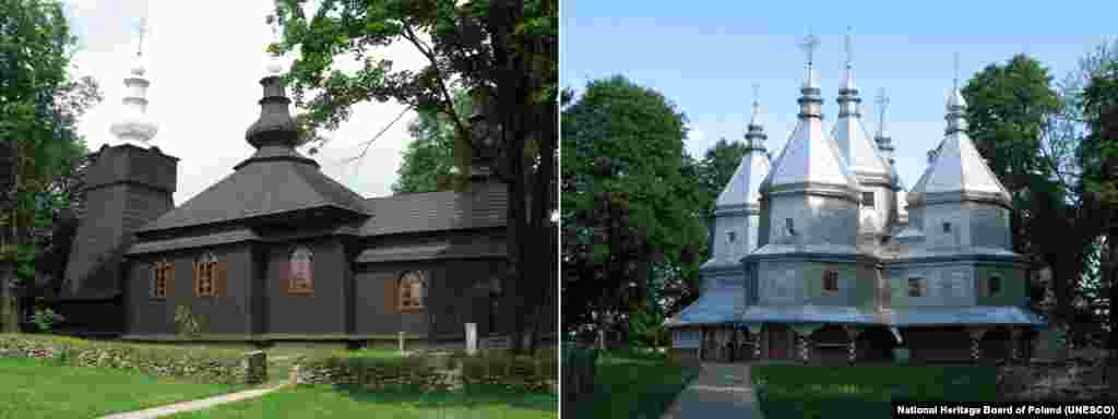 These wooden churches, called tserkvas, were built by Eastern Orthodox and Greek Catholic communities in the Carpathian region of eastern Poland and Ukraine between the 16th and 19th centuries.