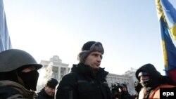 Vitaly Kliciko printre protestatarii din Kiev