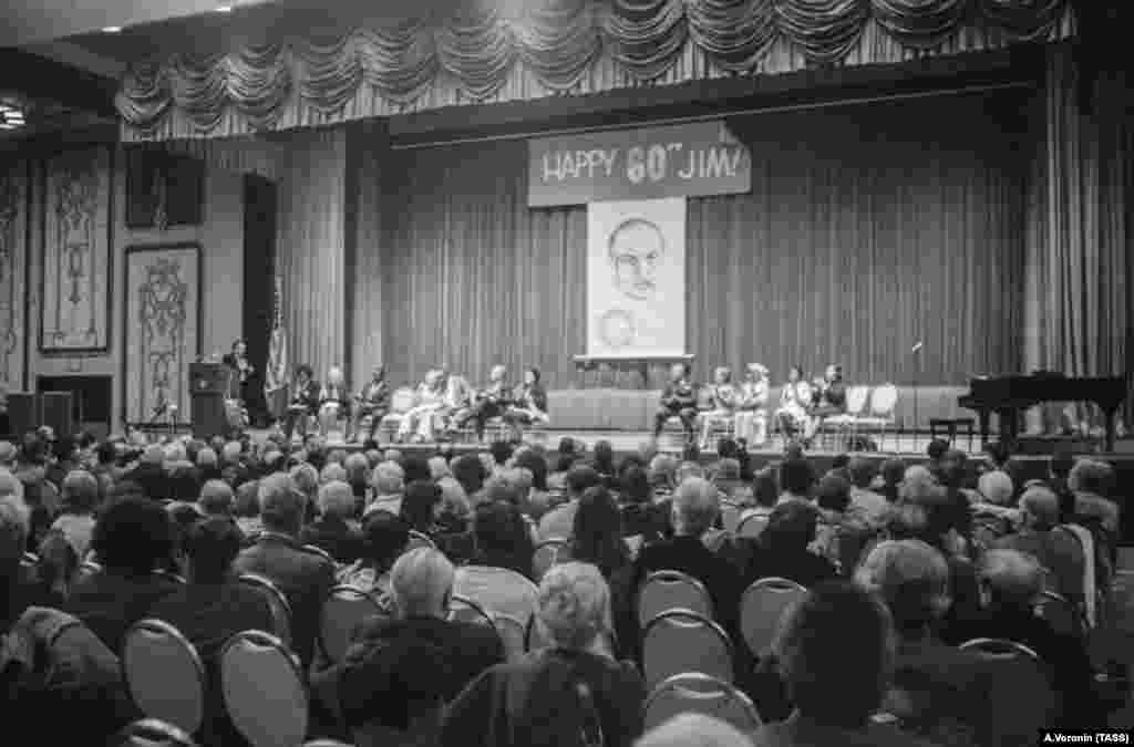 A birthday party for American communist and civil-rights activist James Jackson in New York in 1975.