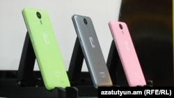 Armenia - Armenian-made Armphone smartphones on sale in Yerevan.