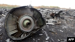 A part of Malaysia Airlines flight MH17 lies at the crash site in the village of Hrabove, 80 kilometers from the city of Donetsk.