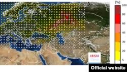 Карта Института ядерной и радиационной безопасности Франции (IRSN) об утечке радиации на ядерном объекте предположительно в России или Казахстане в конце сентября.