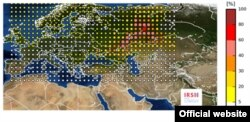 A graphic published on the IRSN's website showing a radiation emission that probably originated in Russia or Kazakhstan.