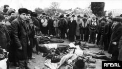 The bodies of protesters slain by Soviet troops, January 20, 1990