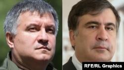 Министр внутренних дел Украины Арсен Аваков (слева) и губернатор Одесской области Михаил Саакашвили.