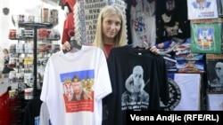 Prodaja majica sa likom Vladimira Putina, Beograd, oktobar 2014
