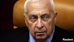 Israeli Prime Minister Ariel Sharon at a meeting at his office in Jerusalem in October 2005.