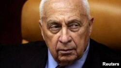Then-Israeli Prime Minister Ariel Sharon in his office in Jerusalem in a 2005 photo