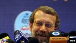 علی لاریجانی در نشست خبری دیروز خود در تهران (عکس: epa)