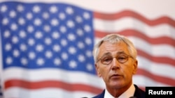 "U.S. Defense Secretary Chuck Hagel says the Islamic State poses an ""imminent threat"" to U.S. interests and ""must be defeated."""