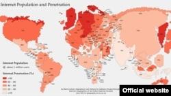 Величина страны на этой карте зависит от количества населения, имеющего доступ к интернету (Oxford Internet Institute World Map)