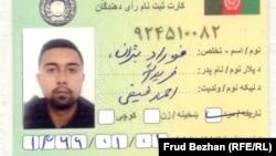 Frud Bezhan's voter ID card