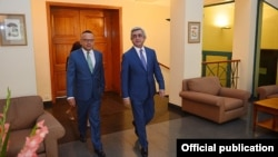 Armenia - President Serzh Sarkisian visits the French Embassy in Yerevan on the occasion of Bastille Day, 14Jul2016.
