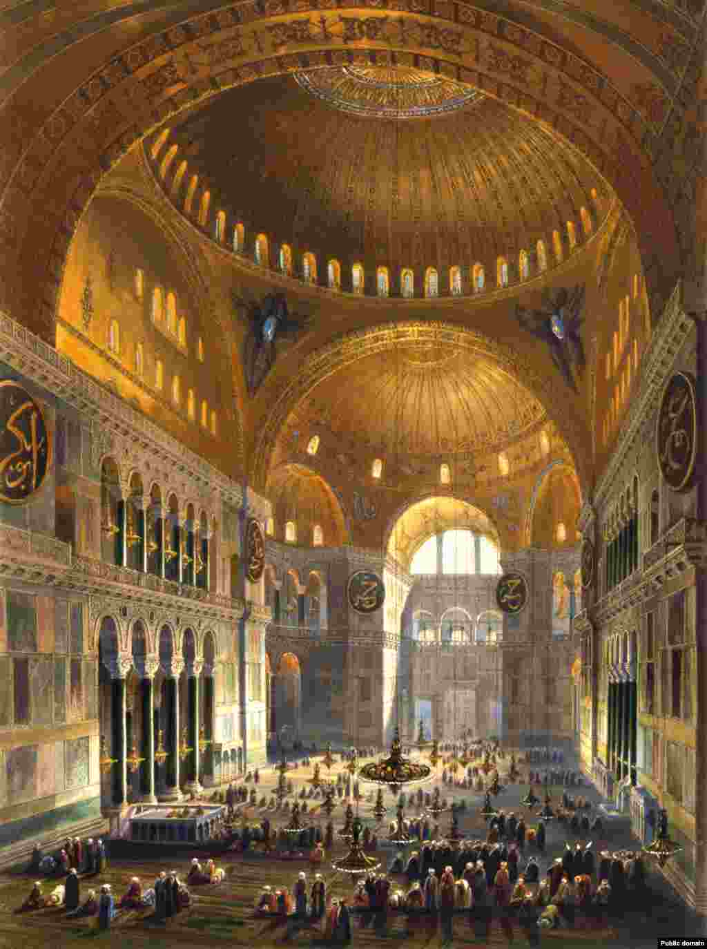 An 1852 illustration of Muslims praying inside Hagia Sophia when it was a mosque.   For nearly 500 years, Hagia Sophia was a working Mosque, and Christian iconography inside was plastered over or destroyed.