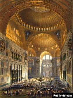Иллюстрация датирована 1852 годом: мусульмане молятся внутри Айя-Софии