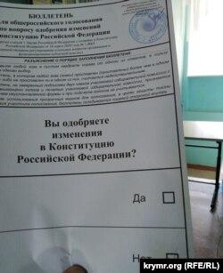 Голосование в Керчи, бюллетень. 1 июля 2020 года