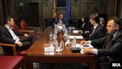 Координативна средба со политичките партии во кабинетот на претседателот на Собранието Трајко Вељаноски. СДСМ не присуствува.