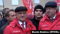 Лидер российской Коммунистической партии (КПРФ) Геннадий Зюганов на демонстрации в Москве, Россия