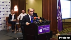 Armenia - Parliament deputy Edmon Marukian speaks at the first congress of his Bright Armenia Party, 12Dec2015