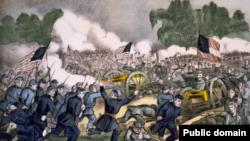 Литографическое изображение битвы при Геттисберге, одного из самых значительных и кровопролитных сражений Гражданской войны в США, выигранной северянами