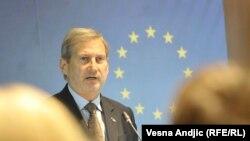 Комиссар ЕС по вопросам расширения и политики соседства Йоханнес Хан (архив).