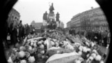 People lay flowers on Prague's Wenceslas Square on January 22, 1969, in honor of Jan Palach, who had died of self-inflicted burns three days earlier.