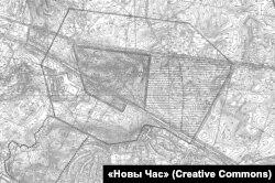 Ахоўная зона Курапатаў паводле праекту Тацяны Косьціч і Вольгі Кукуні 2003 году
