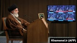 "Iranian Supreme Leader Ayatollah Ali Khamenei delivers a live televised ""anti-Zionist"" speech on the occasion of the Qods (Quds) Day. May 22, 2020"