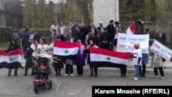 جانب من تظاهرة الجاليات الأهوازية أمام البرلمان البريطاني