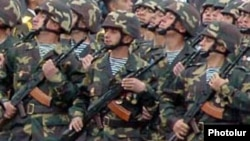 Armenian soldiers on parade in Stepanakert, the capital of Nagorno-Karabakh.