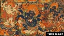 «Тибетские черти» - защитники буддистской веры дхармапалы. Картина на шелке, фрагмент, 19 век.