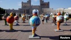 Астананың орталығындағы экспозиция.