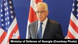 U.S. Defense Secretary Chuck Hagel speaking at a briefing in Tbilisi, Georgia, in early September