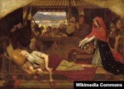 """Lear and Cordelia. """"Kral Lir""""ə illüstrasiya"""