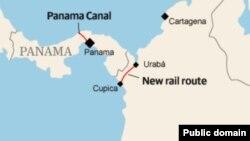 Карта новой трансокеанской железной дороги в Колумбии, в обход Панамского канала, которая скоро начнет строиться на деньги КНР