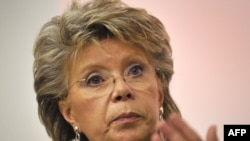 EU Justice Commissioner Viviane Reding points out that women in the bloc need to work an extra two months each year to earn as much as men.