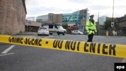 Полицейское оцепление около «Манчестер Арены»