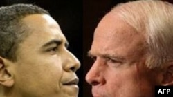 U.S. -- Presidential candidates Barack Obama (L) and John Mccain, 12Feb2008