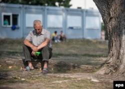 Біженець з Албанії сидить під деревом у місті Айзенхюттенштадт, Німеччина. Серпень 2015 року
