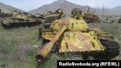 Destroyed Soviet tanks in Afghanistan.